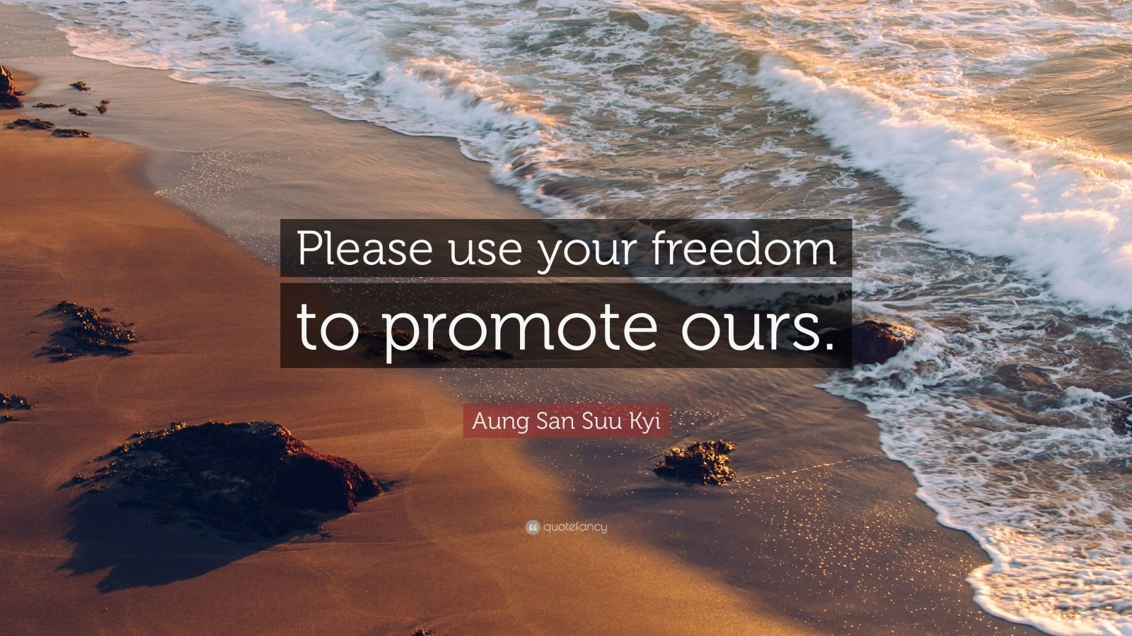 "Aung San Suu Kyi Quote: ""Please use your freedom to promote ours."""