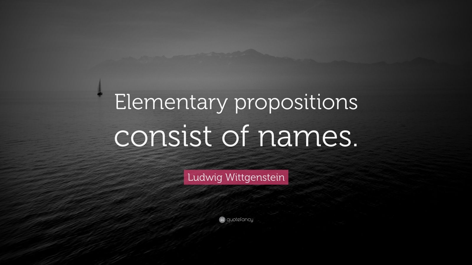 """Ludwig Wittgenstein Quote: """"Elementary propositions consist of names."""""""