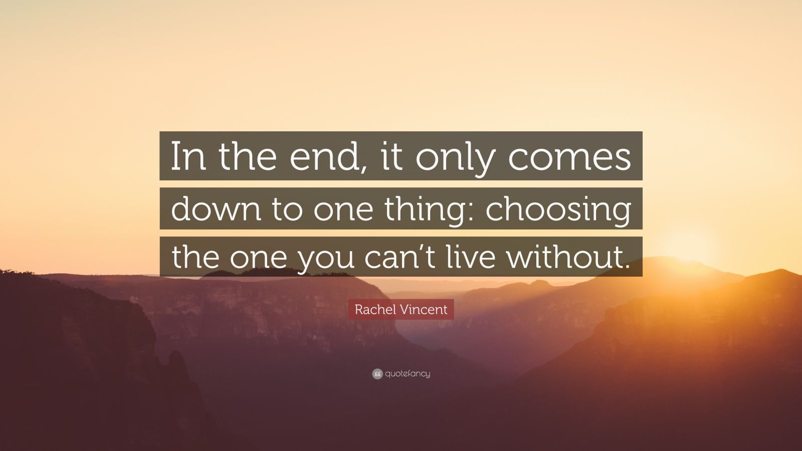"Rachel Vincent Quote: ""In the end, it only comes down to one thing: choosing the one you can't live without."""
