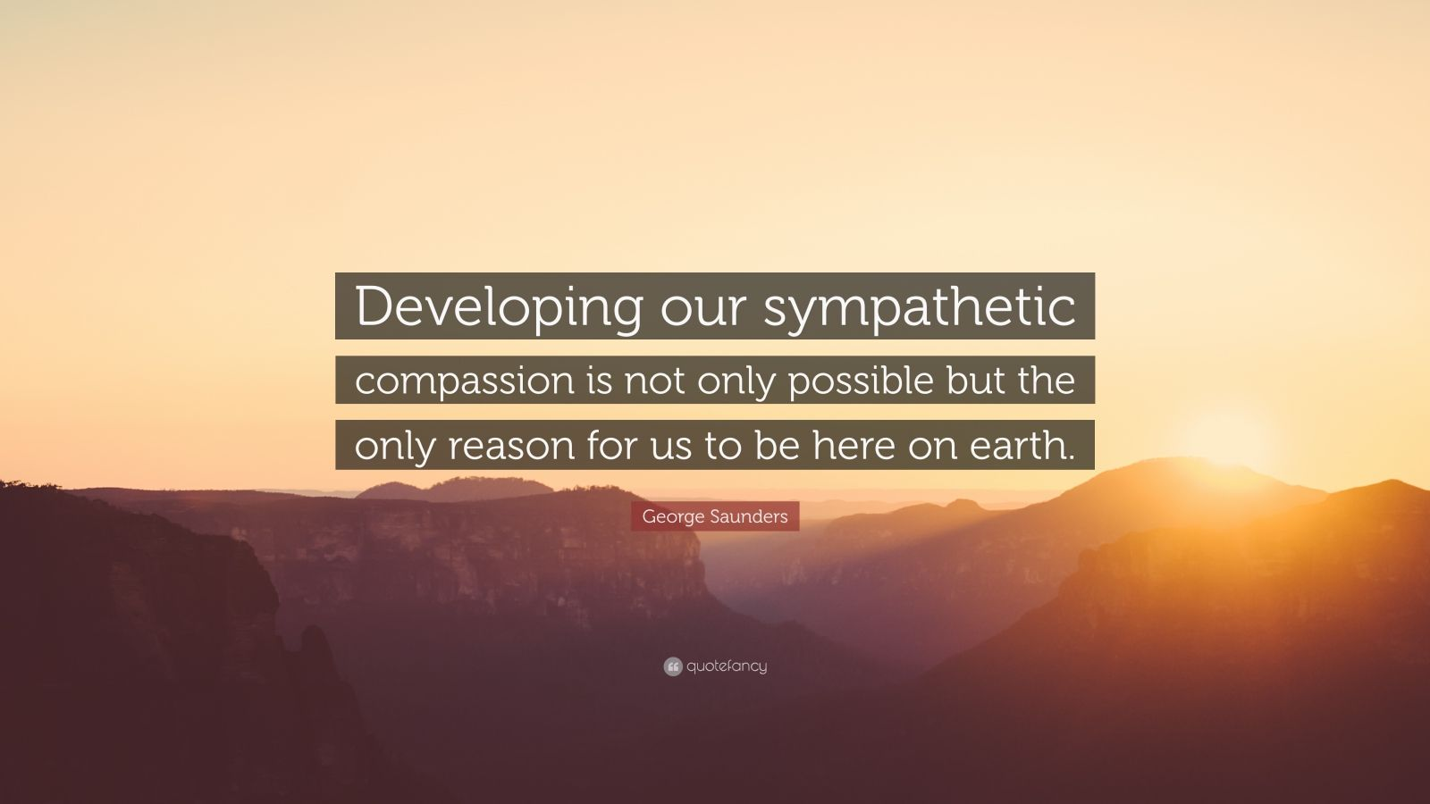 "George Saunders Quote: ""Developing our sympathetic compassion is not only possible but the only reason for us to be here on earth."""
