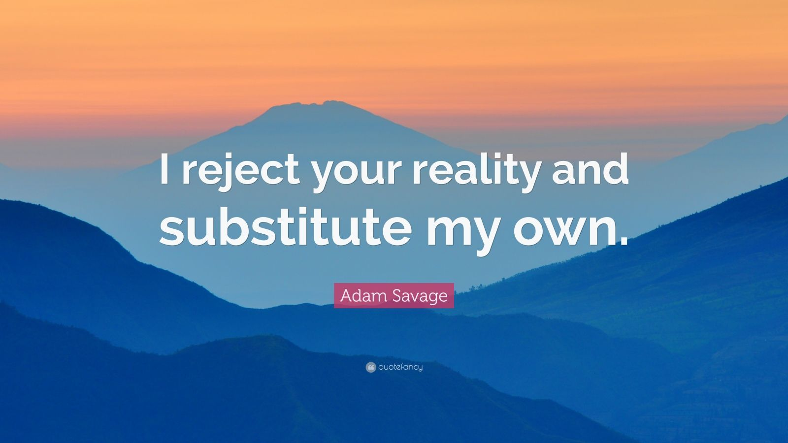 "Adam Savage Quote: ""I reject your reality and substitute ..."