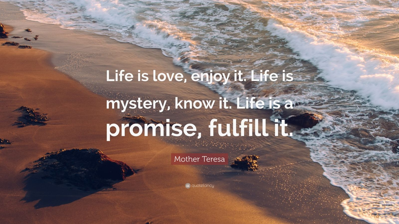 "Mother Teresa Quote: ""Life is love, enjoy it. Life is mystery, know it. Life is a promise, fulfill it."""