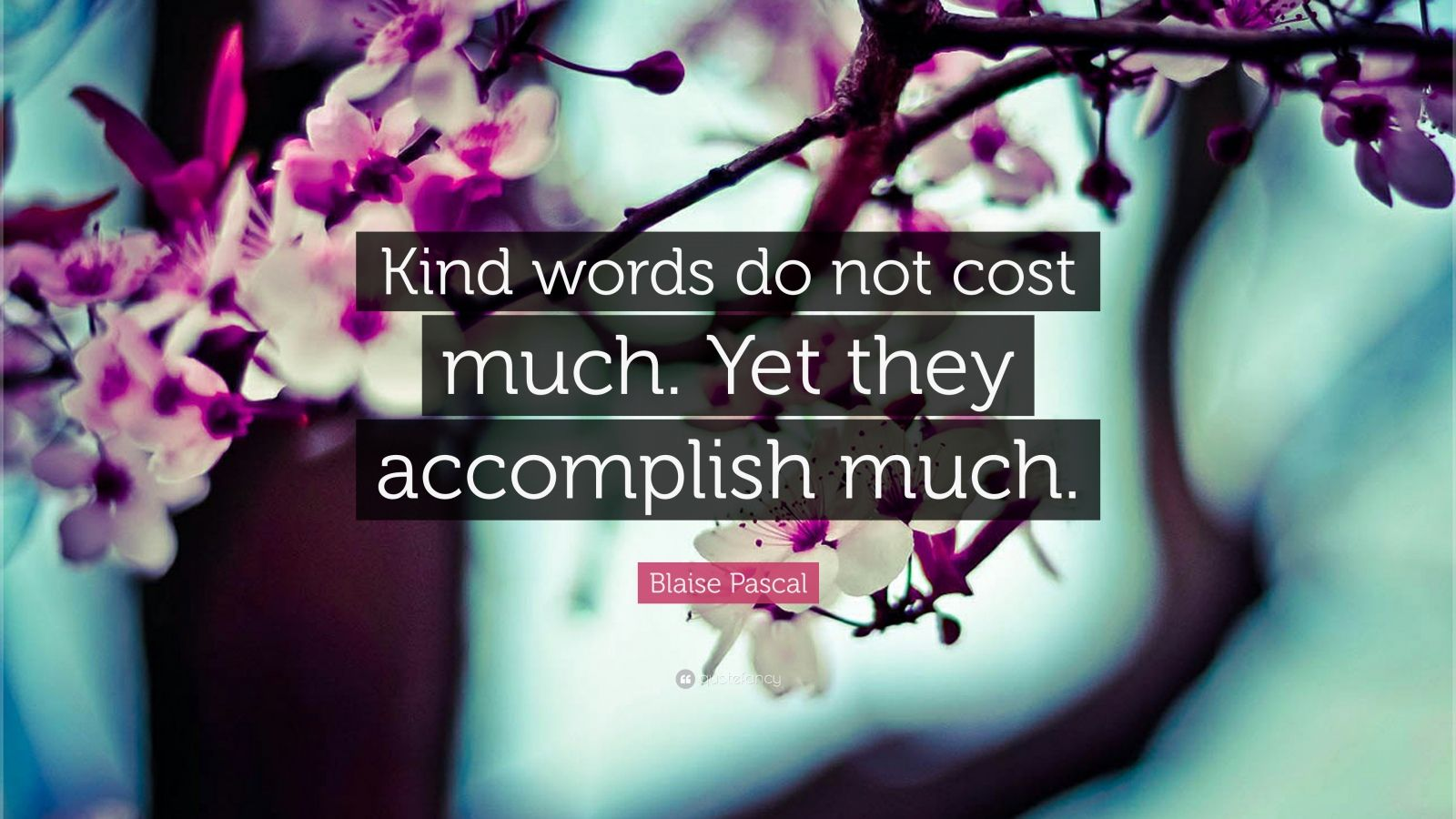 "Blaise Pascal Quote: ""Kind words do not cost much. Yet they accomplish much."""