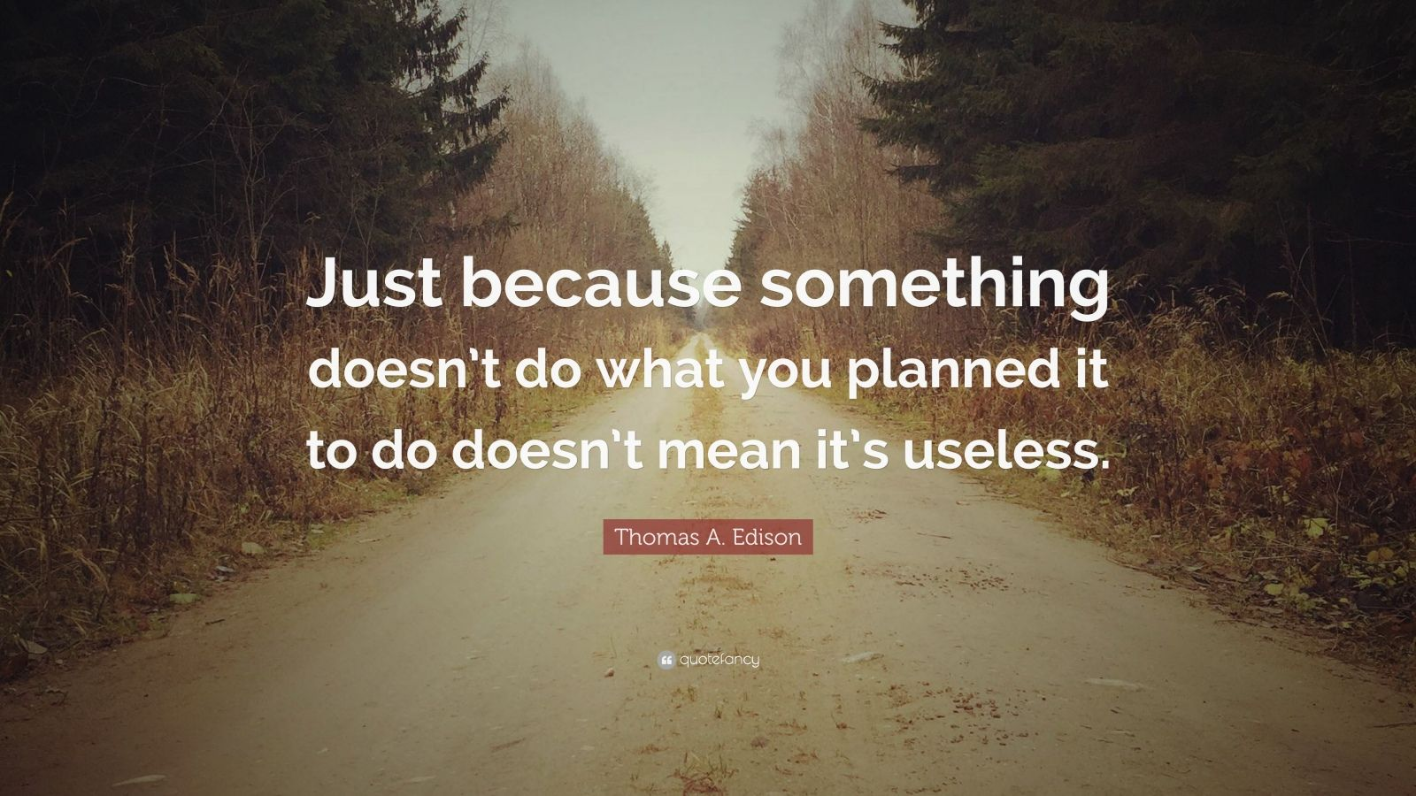 "Thomas A. Edison Quote: ""Just because something doesn't do what you planned it to do doesn't mean it's useless."""