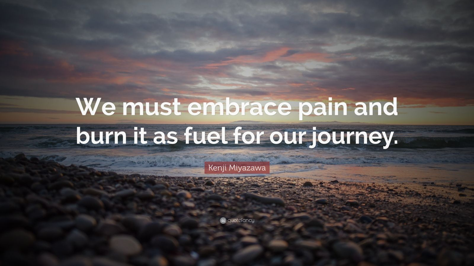 "Kenji Miyazawa Quote: ""We must embrace pain and burn it as fuel for our journey."""