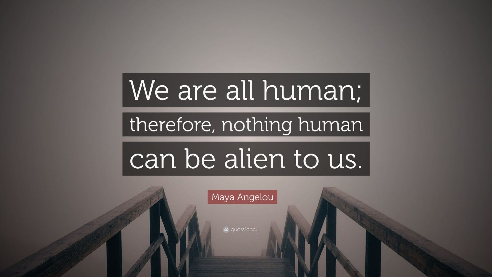"Maya Angelou Quote: ""We are all human; therefore, nothing human can be alien to us."""