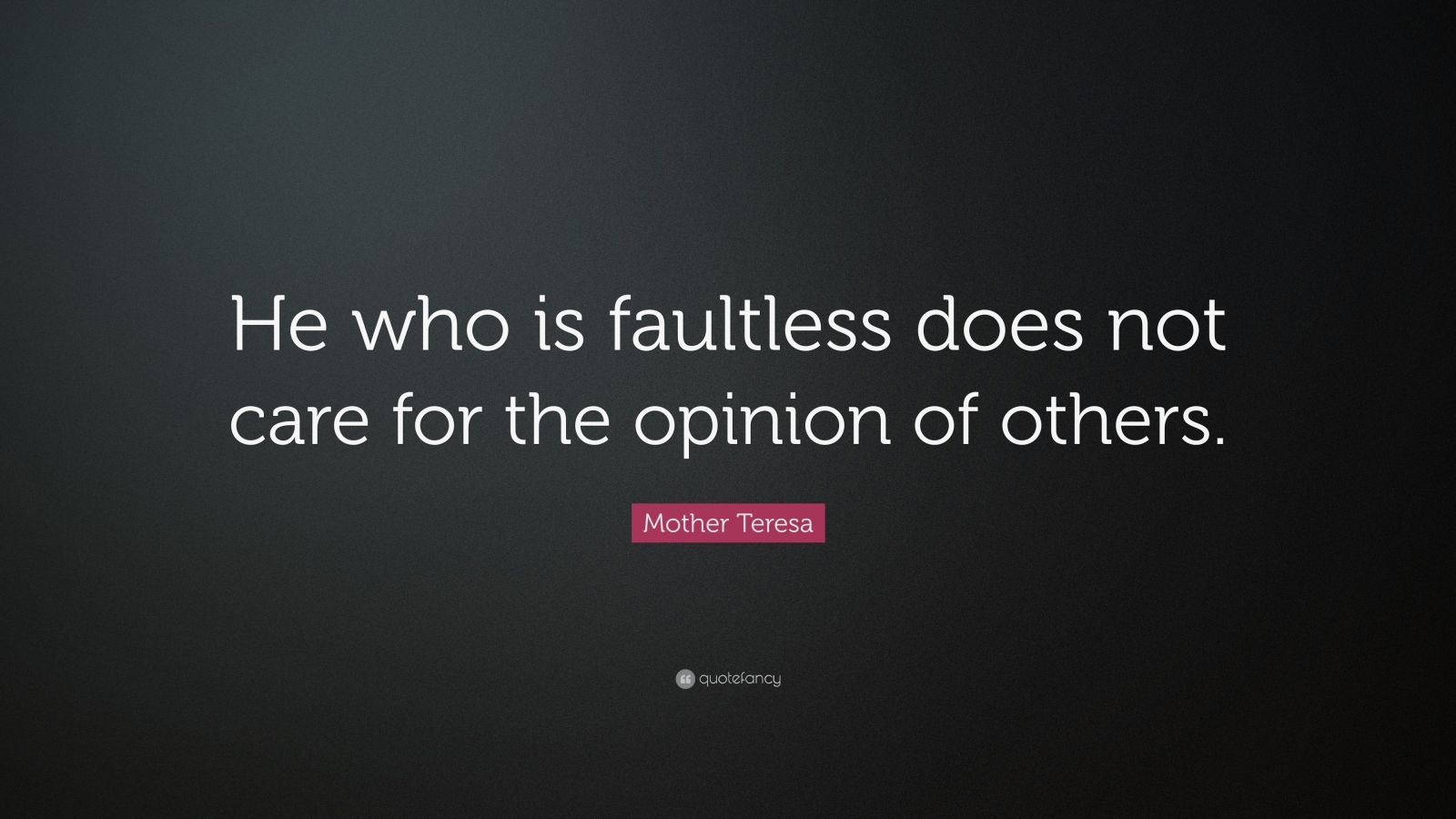 """Mother Teresa Quote: """"He who is faultless does not care for the opinion of others."""""""