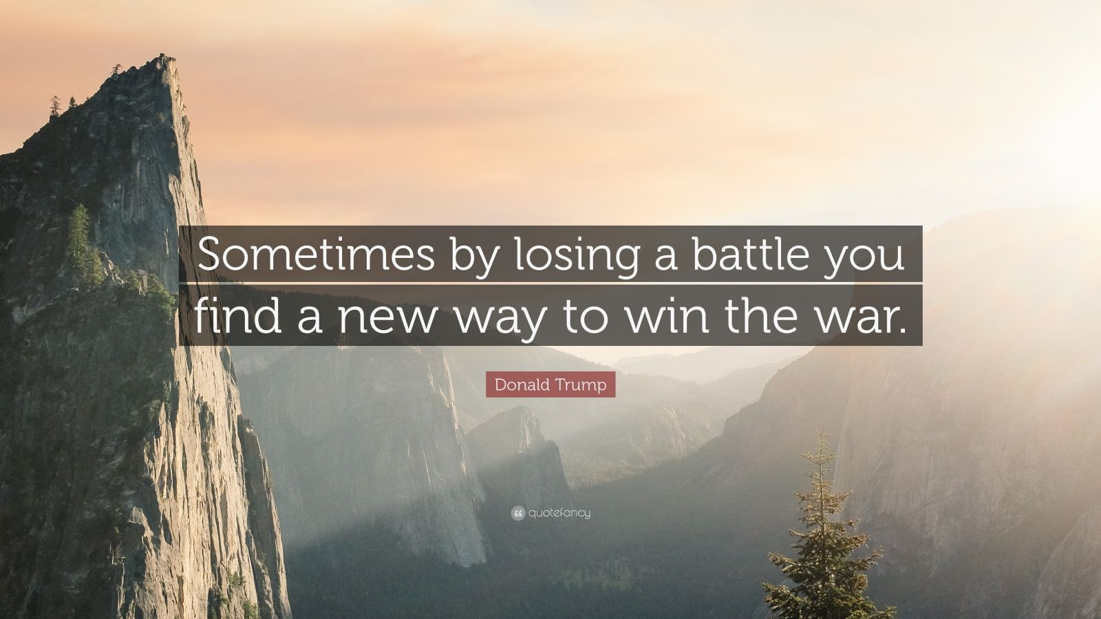 "Donald Trump Quote: ""Sometimes by losing a battle you find a new way to win the war."""