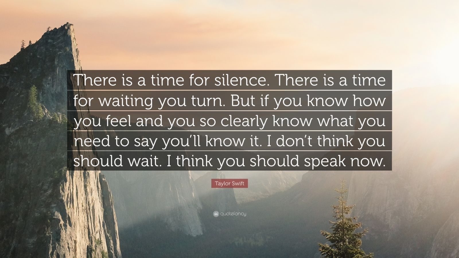 "Taylor Swift Quote: ""There is a time for silence. There is a time for waiting you turn. But if you know how you feel and you so clearly know what you need to say you'll know it. I don't think you should wait. I think you should speak now."""