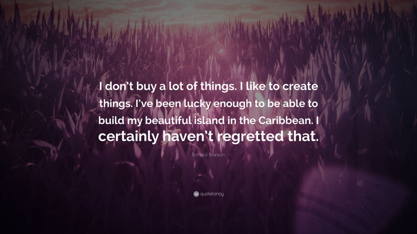 """Richard Branson Quote: """"I don't buy a lot of things. I like to create things. I've been lucky enough to be able to build my beautiful island in the Caribbean. I certainly haven't regretted that."""""""