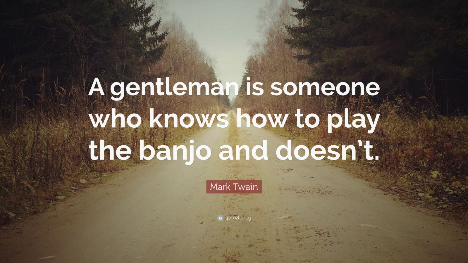 "Mark Twain Quote: ""A gentleman is someone who knows how to play the banjo and doesn't."""