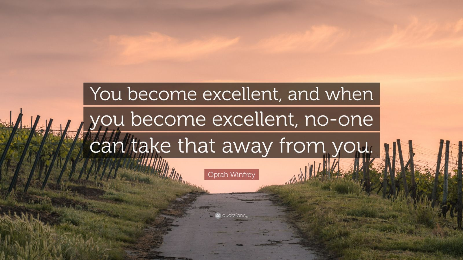 """Oprah Winfrey Quote: """"You become excellent, and when you become excellent, no-one can take that away from you."""""""