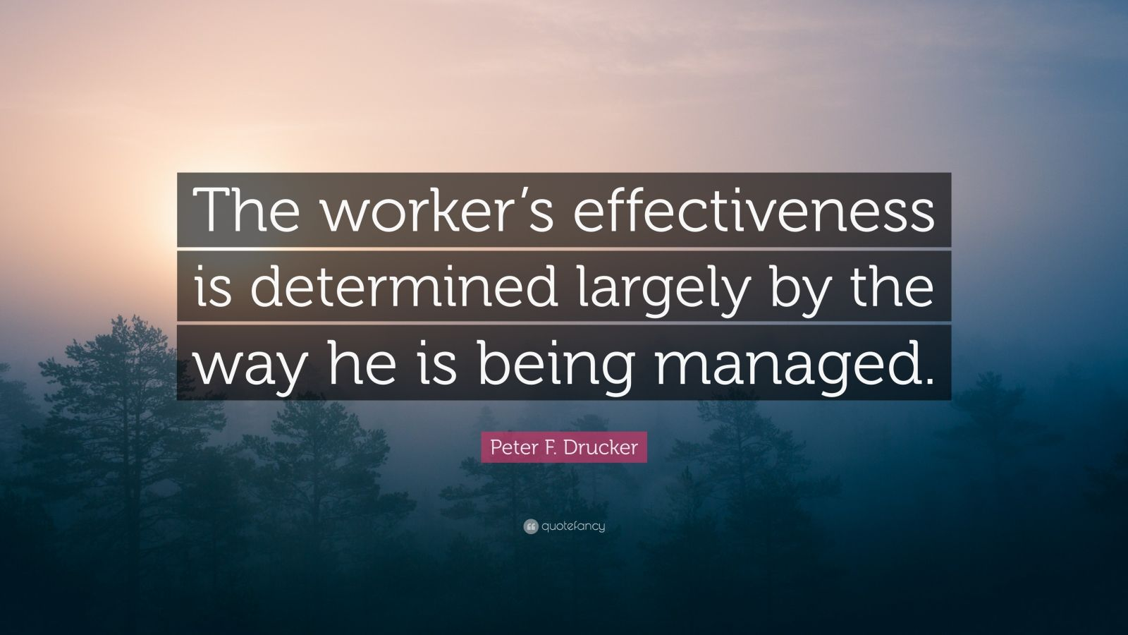 """Peter F. Drucker Quote: """"The worker's effectiveness is determined largely by the way he is being managed."""""""