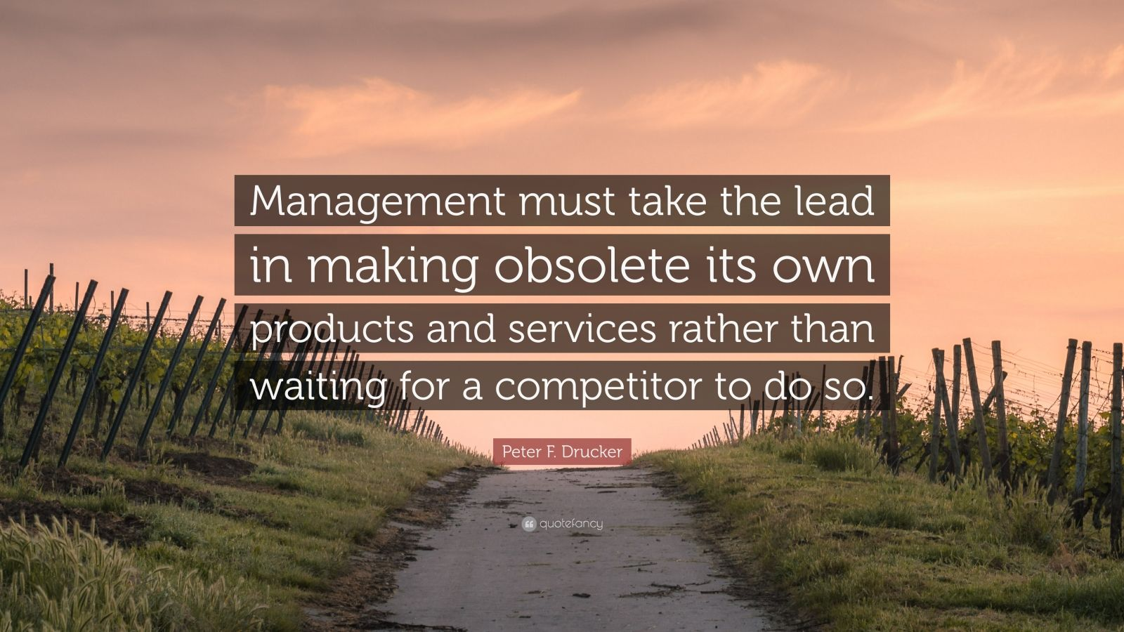 """Peter F. Drucker Quote: """"Management must take the lead in making obsolete its own products and services rather than waiting for a competitor to do so."""""""