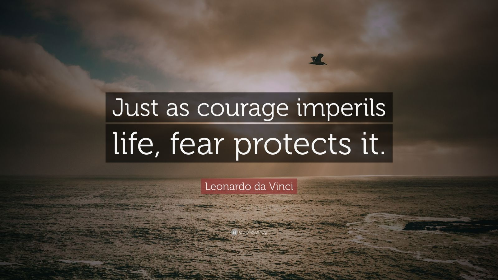 "Leonardo da Vinci Quote: ""Just as courage imperils life, fear protects it."""
