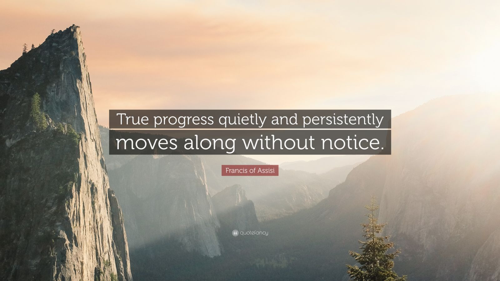 """Francis of Assisi Quote: """"True progress quietly and persistently moves along without notice."""""""