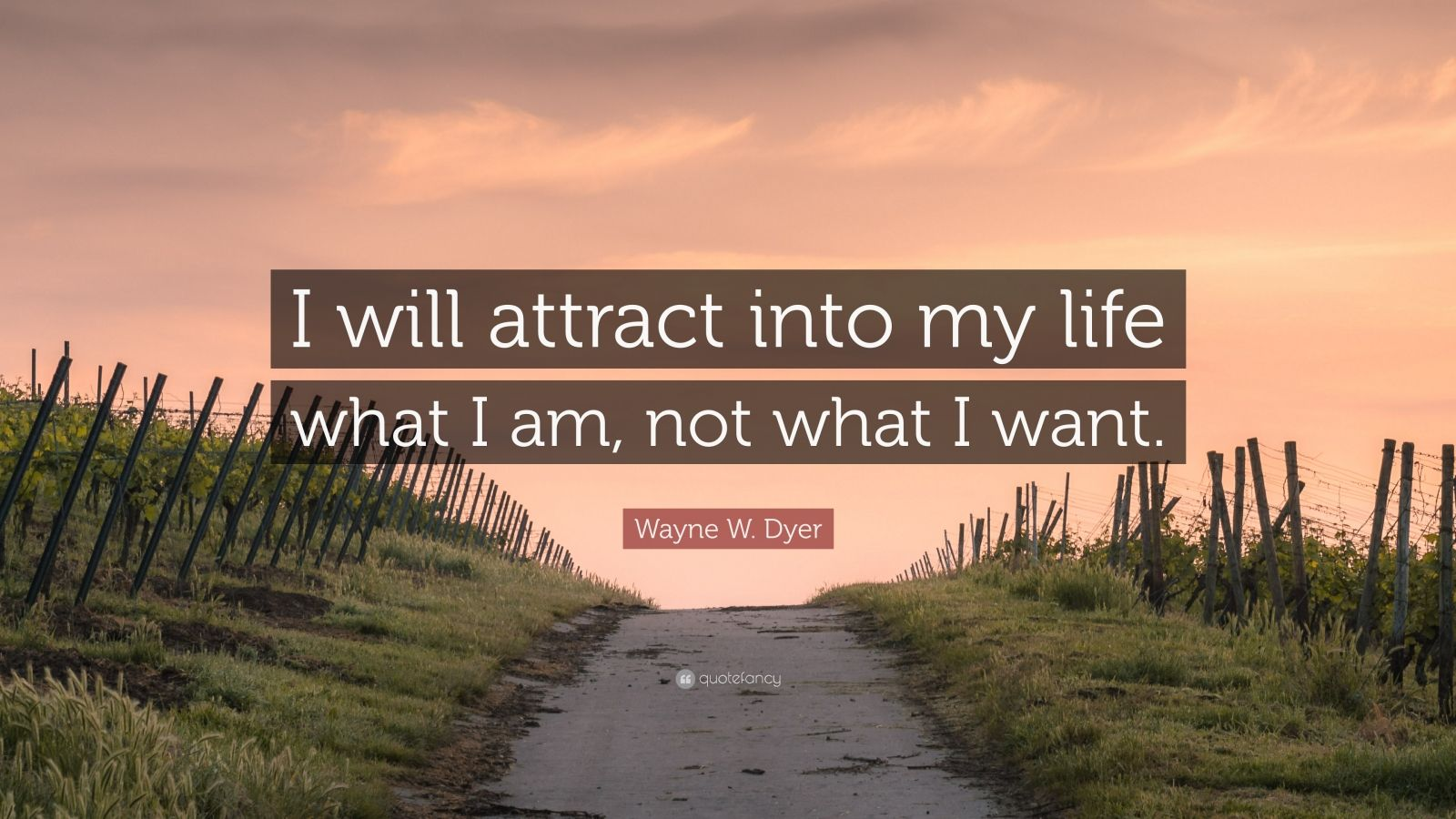 """Wayne W. Dyer Quote: """"I will attract into my life what I am, not what I want."""""""