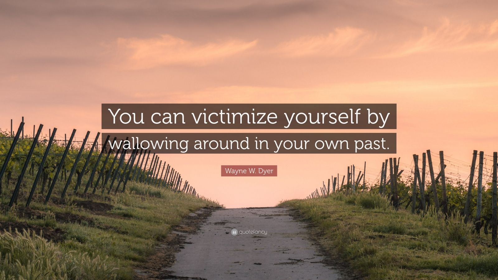 """Wayne W. Dyer Quote: """"You can victimize yourself by wallowing around in your own past."""""""
