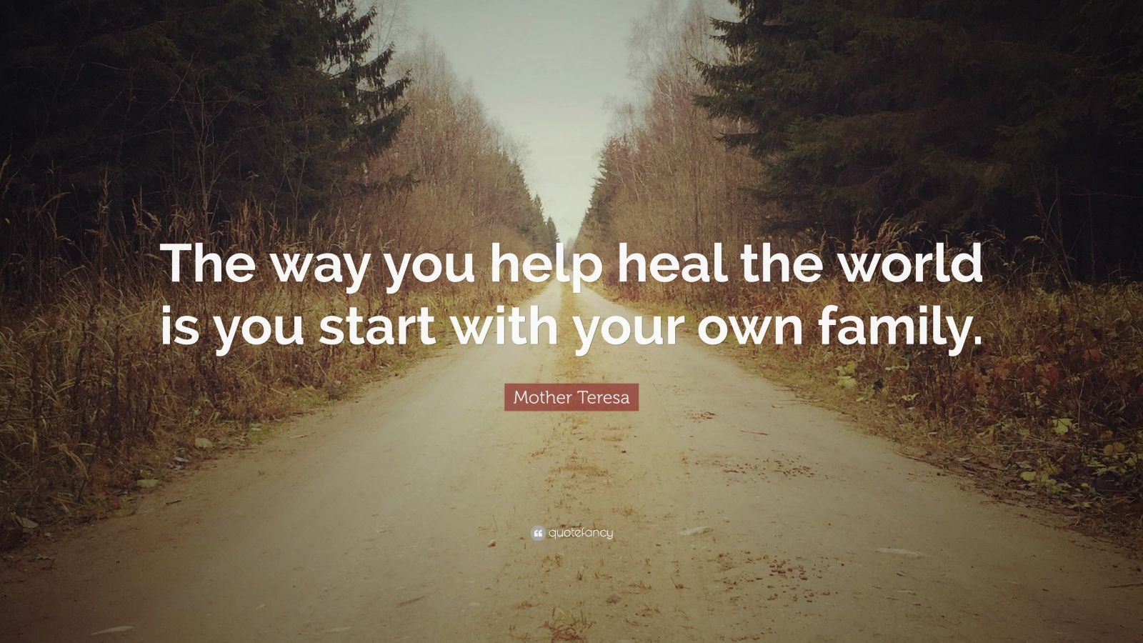 """Mother Teresa Quote: """"The way you help heal the world is you start with your own family."""""""