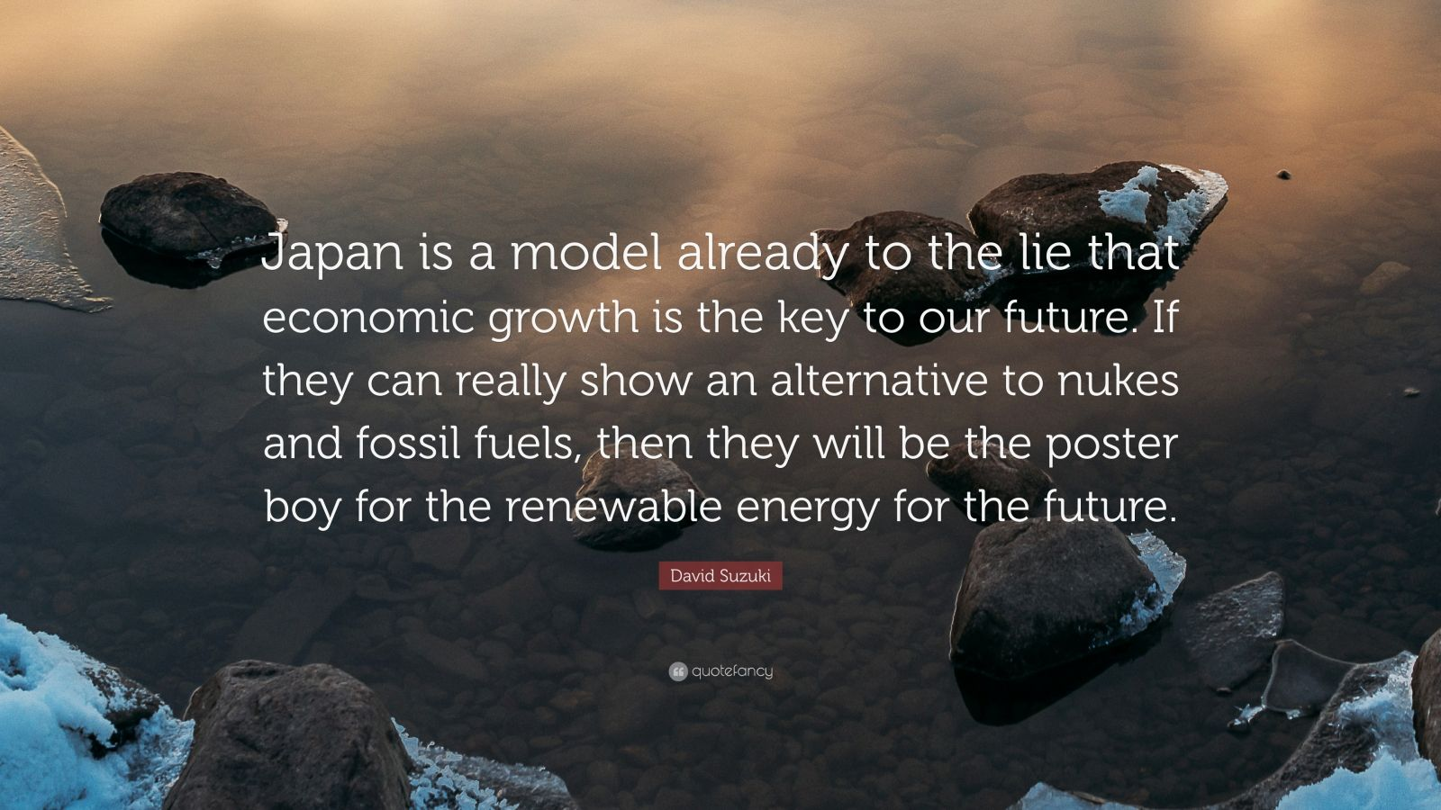 """David Suzuki Quote: """"Japan is a model already to the lie that economic growth is the key to our future. If they can really show an alternative to nukes and fossil fuels, then they will be the poster boy for the renewable energy for the future."""""""