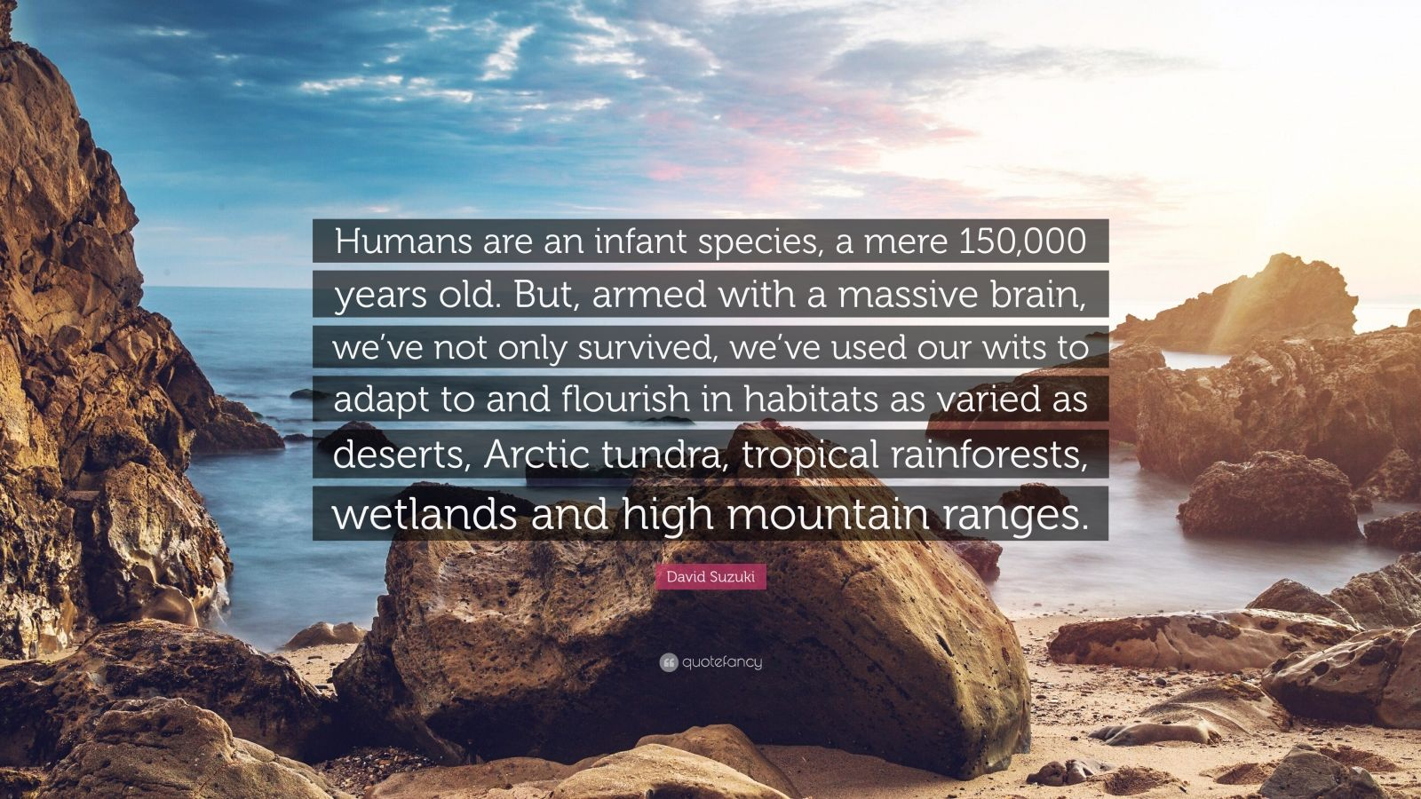 """David Suzuki Quote: """"Humans are an infant species, a mere 150,000 years old. But, armed with a massive brain, we've not only survived, we've used our wits to adapt to and flourish in habitats as varied as deserts, Arctic tundra, tropical rainforests, wetlands and high mountain ranges."""""""