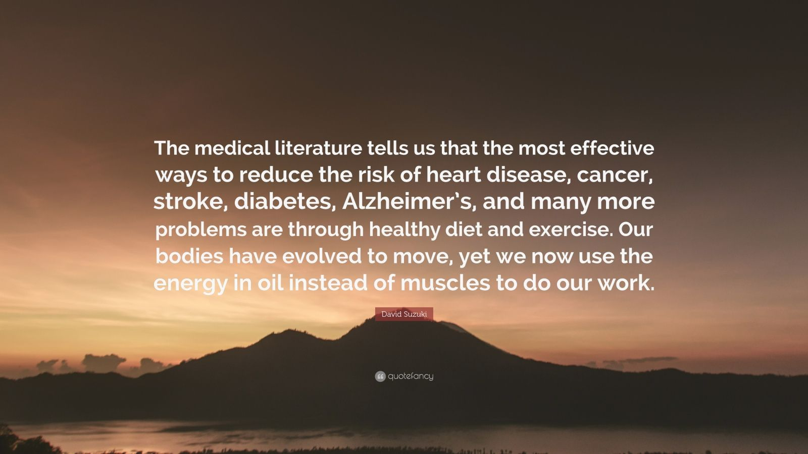 "David Suzuki Quote: ""The medical literature tells us that the most effective ways to reduce the risk of heart disease, cancer, stroke, diabetes, Alzheimer's, and many more problems are through healthy diet and exercise. Our bodies have evolved to move, yet we now use the energy in oil instead of muscles to do our work."""
