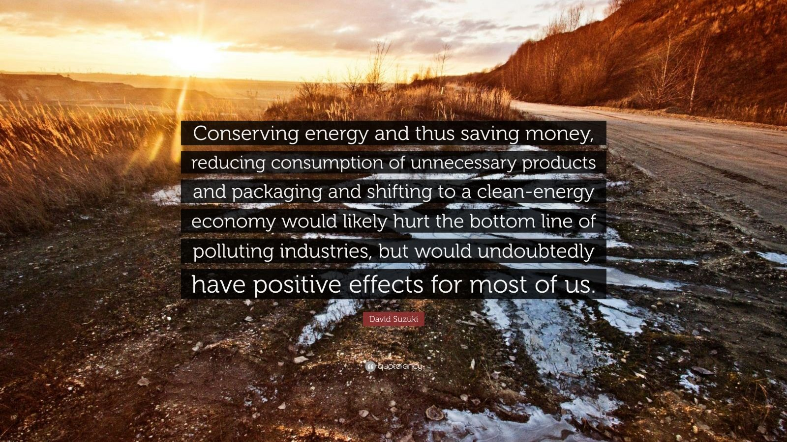 "David Suzuki Quote: ""Conserving energy and thus saving money, reducing consumption of unnecessary products and packaging and shifting to a clean-energy economy would likely hurt the bottom line of polluting industries, but would undoubtedly have positive effects for most of us."""