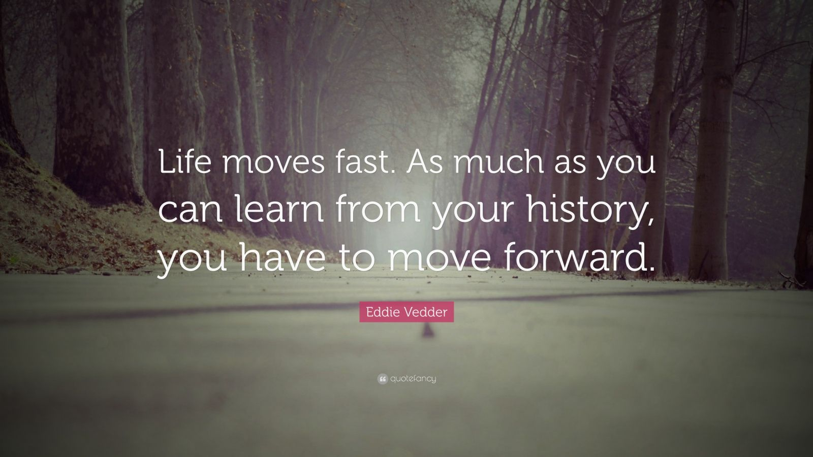 "Eddie Vedder Quote: ""Life moves fast. As much as you can learn from your history, you have to move forward."""