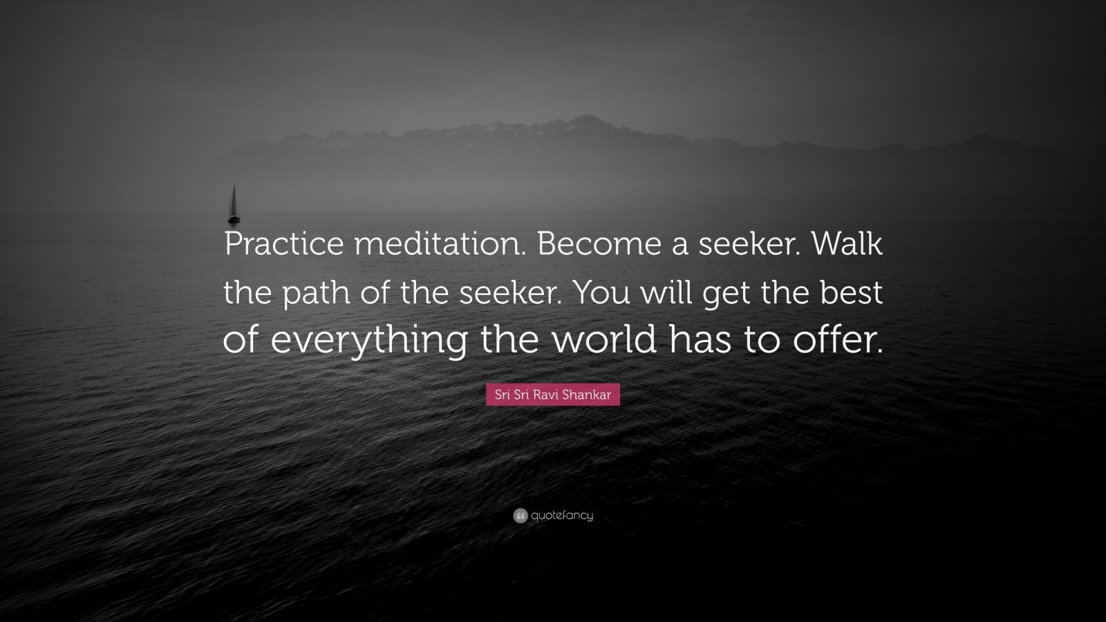 """Sri Sri Ravi Shankar Quote: """"Practice meditation. Become a seeker. Walk the path of the seeker. You will get the best of everything the world has to offer."""""""