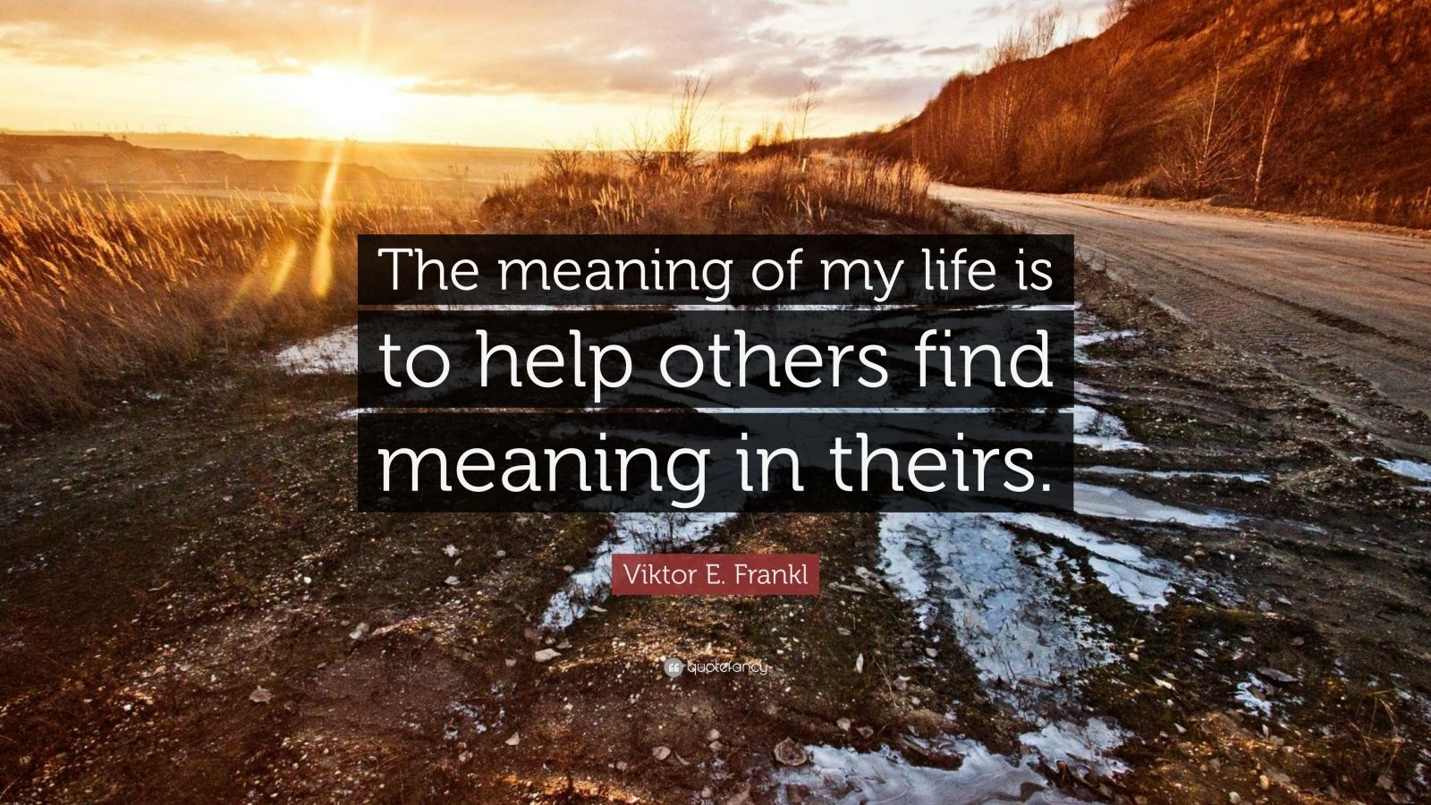 "Viktor E. Frankl Quote: ""The meaning of my life is to help others find meaning in theirs."""