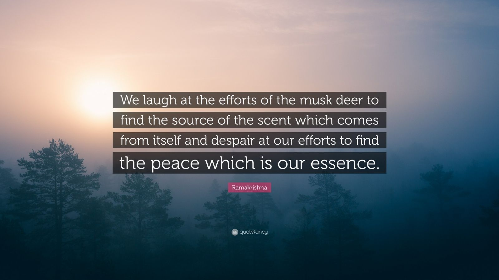 """Ramakrishna Quote: """"We laugh at the efforts of the musk deer to find the source of the scent which comes from itself and despair at our efforts to find the peace which is our essence."""""""