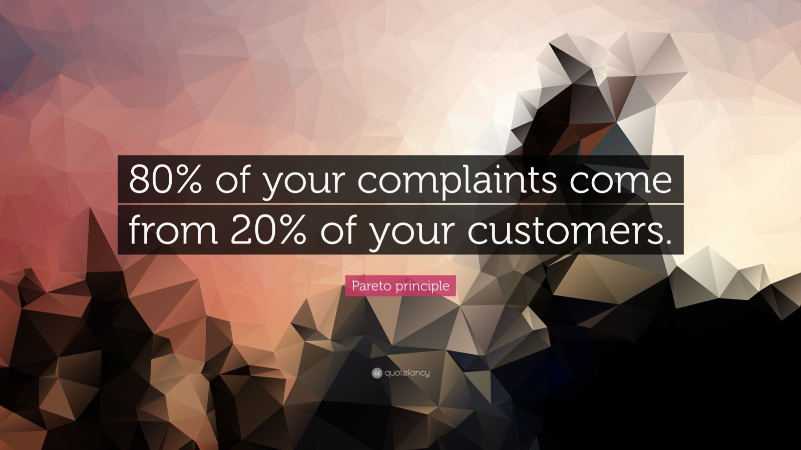 "Pareto principle Quote: ""80% of your complaints come from 20% of your customers."""
