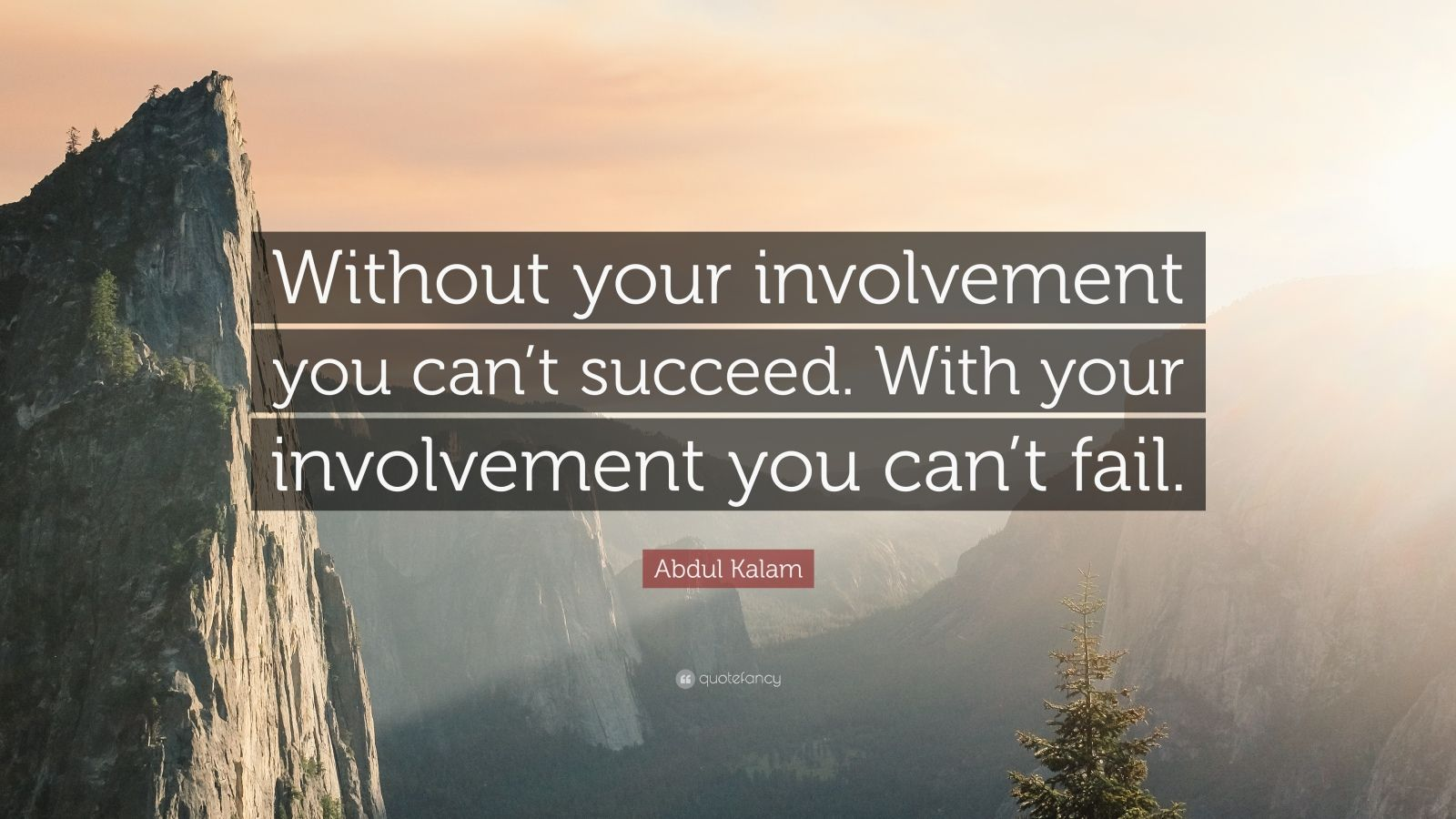 "Abdul Kalam Quote: ""Without your involvement you can't succeed. With your involvement you can't fail."""