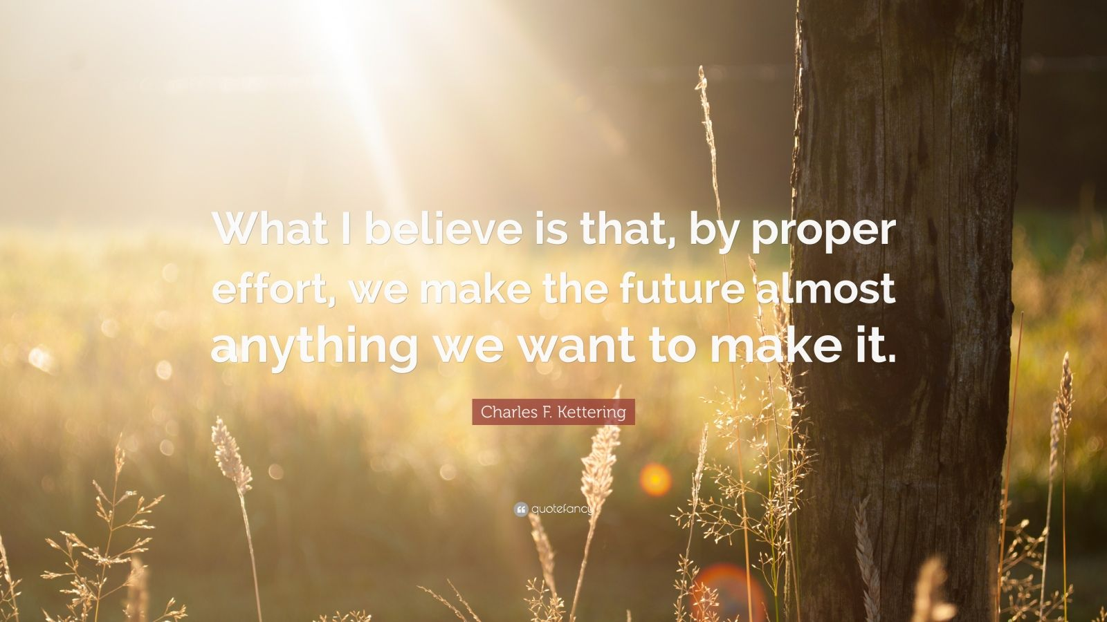 "Charles F. Kettering Quote: ""What I believe is that, by proper effort, we make the future almost anything we want to make it."""