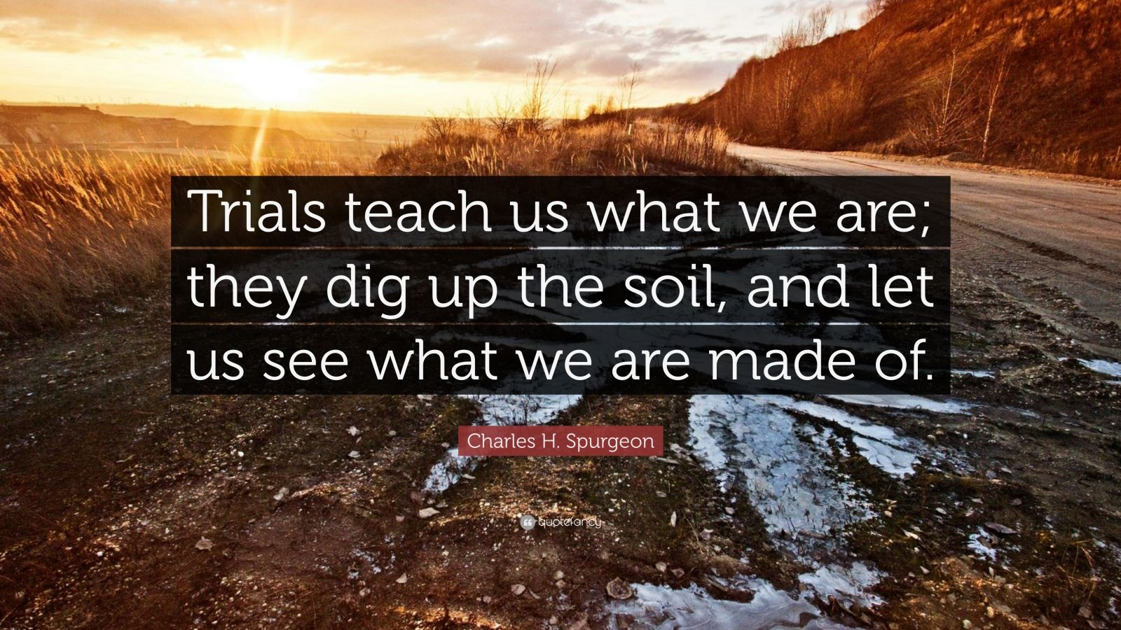 """Charles H. Spurgeon Quote: """"Trials teach us what we are; they dig up the soil, and let us see what we are made of."""""""