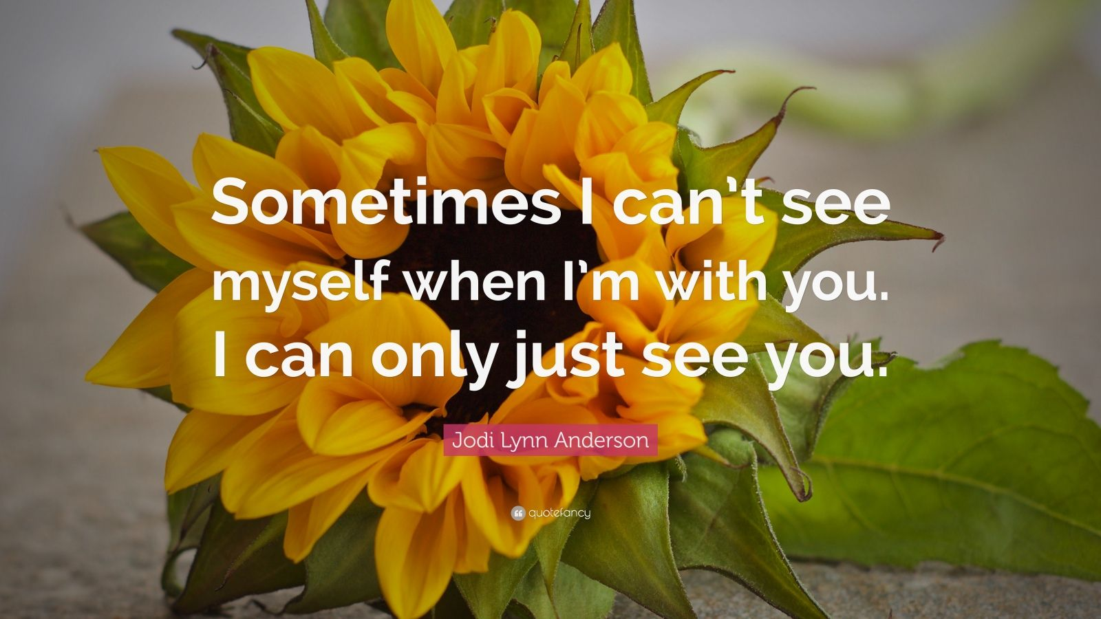 Sometimes I can't see myself when I'm with you. I can only just see you.