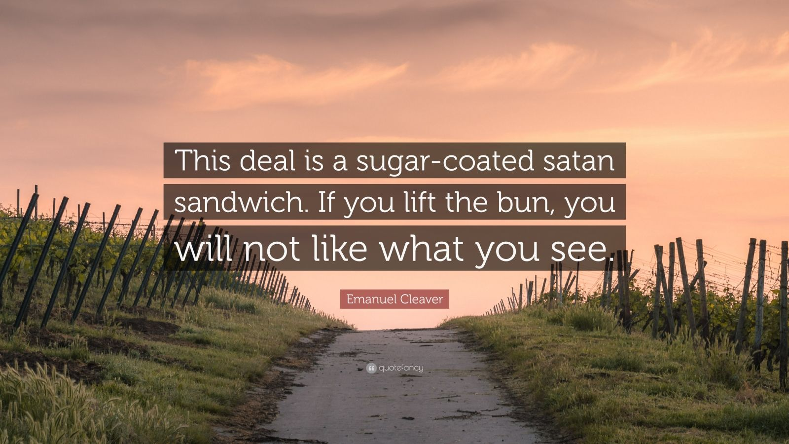 "Emanuel Cleaver Quote: ""This deal is a sugar-coated satan sandwich. If you lift the bun, you will not like what you see."""