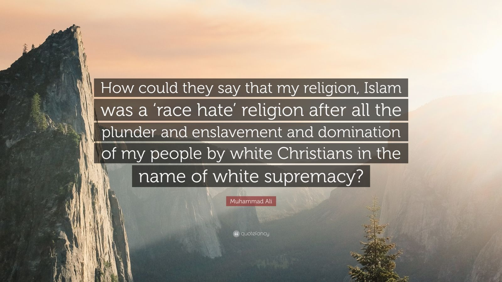 "Muhammad Ali Quote: ""How could they say that my religion, Islam was a 'race hate' religion after all the plunder and enslavement and domination of my people by white Christians in the name of white supremacy?"""
