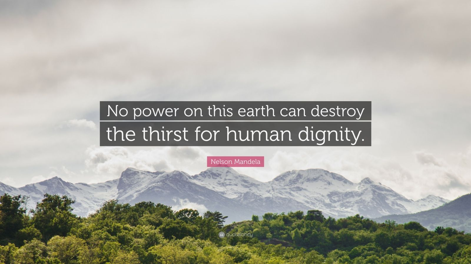"""Nelson Mandela Quote: """"No power on this earth can destroy the thirst for human dignity."""""""