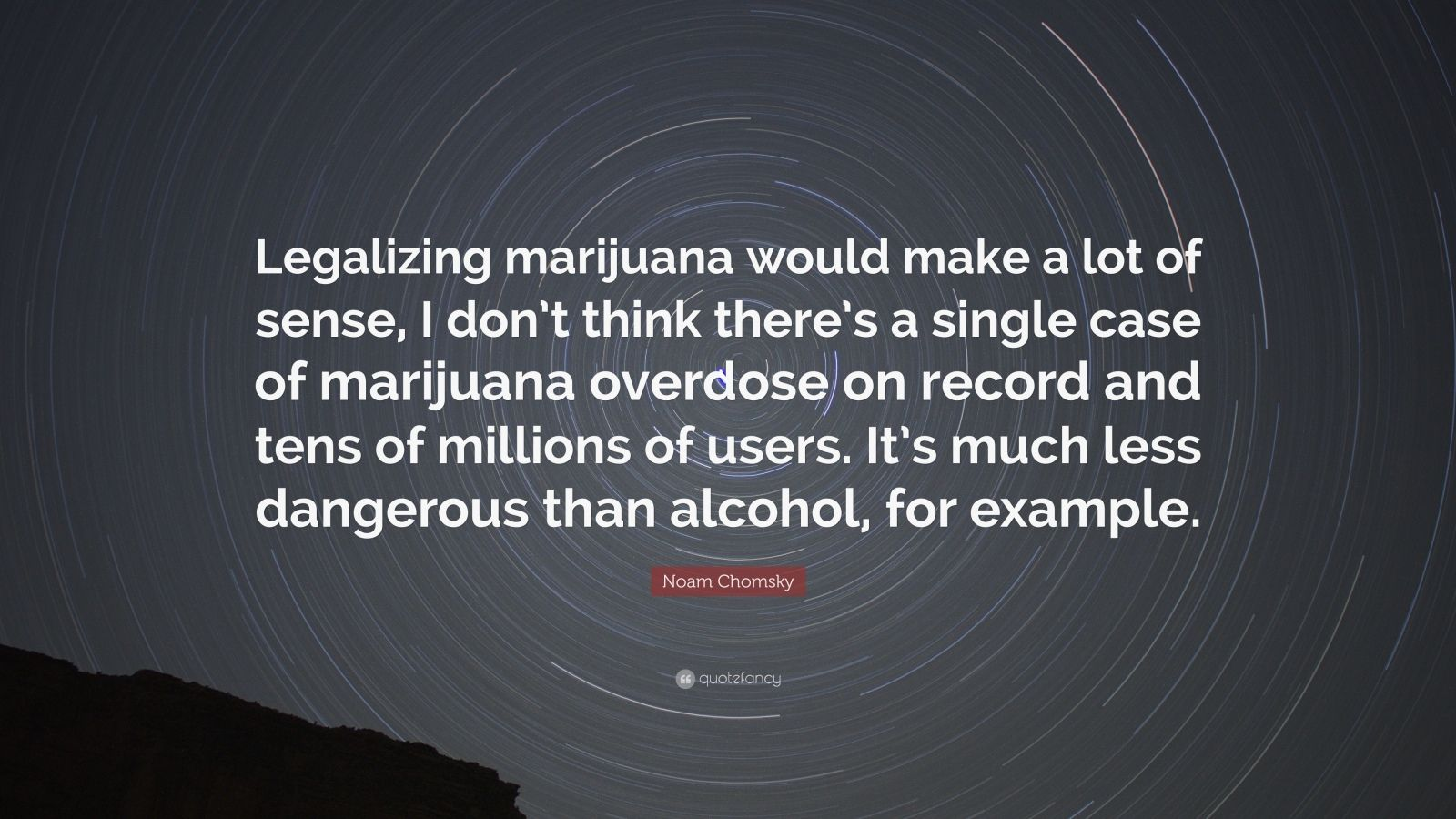 "Noam Chomsky Quote: ""Legalizing marijuana would make a lot of sense, I don't think there's a single case of marijuana overdose on record and tens of millions of users. It's much less dangerous than alcohol, for example."""