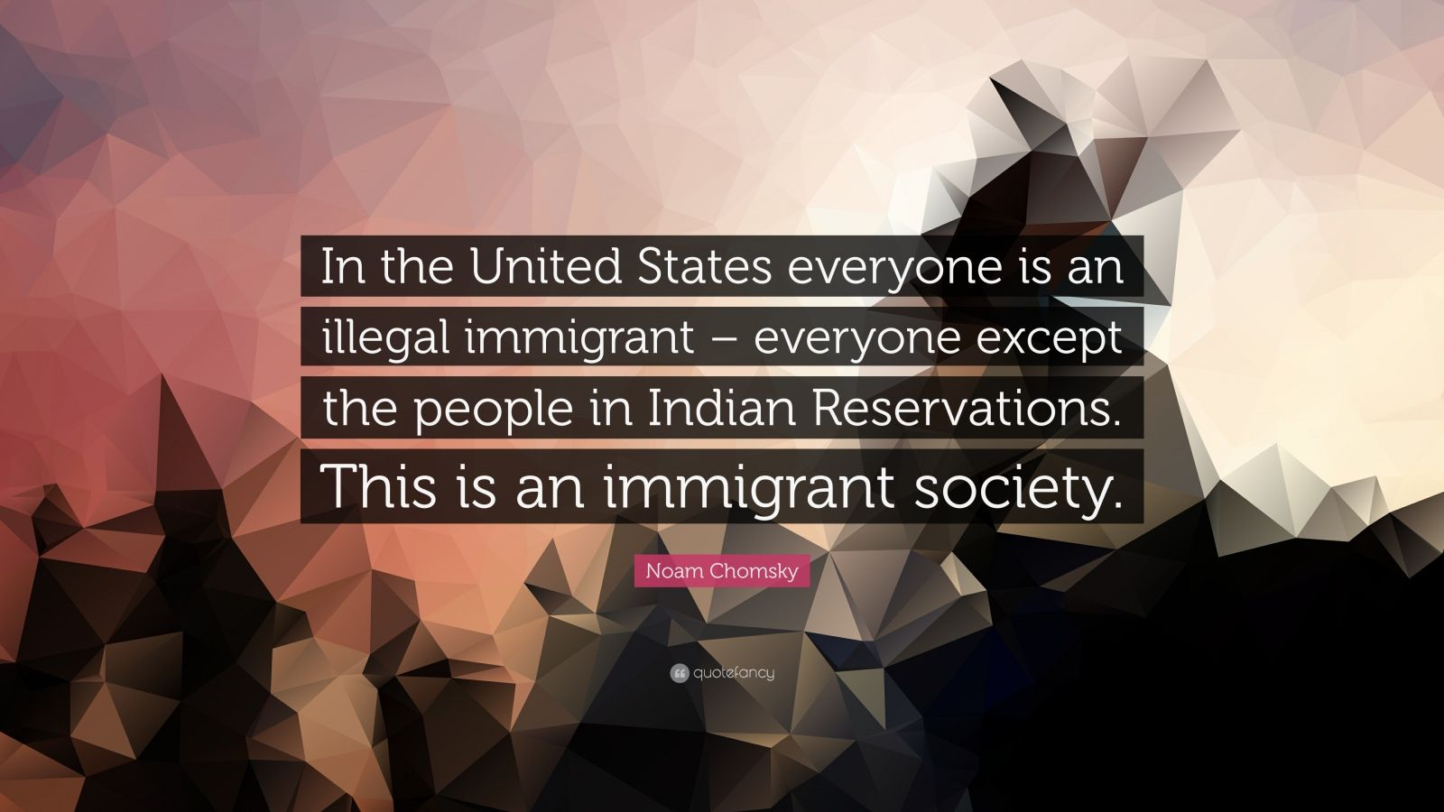 "Noam Chomsky Quote: ""In the United States everyone is an illegal immigrant – everyone except the people in Indian Reservations. This is an immigrant society."""