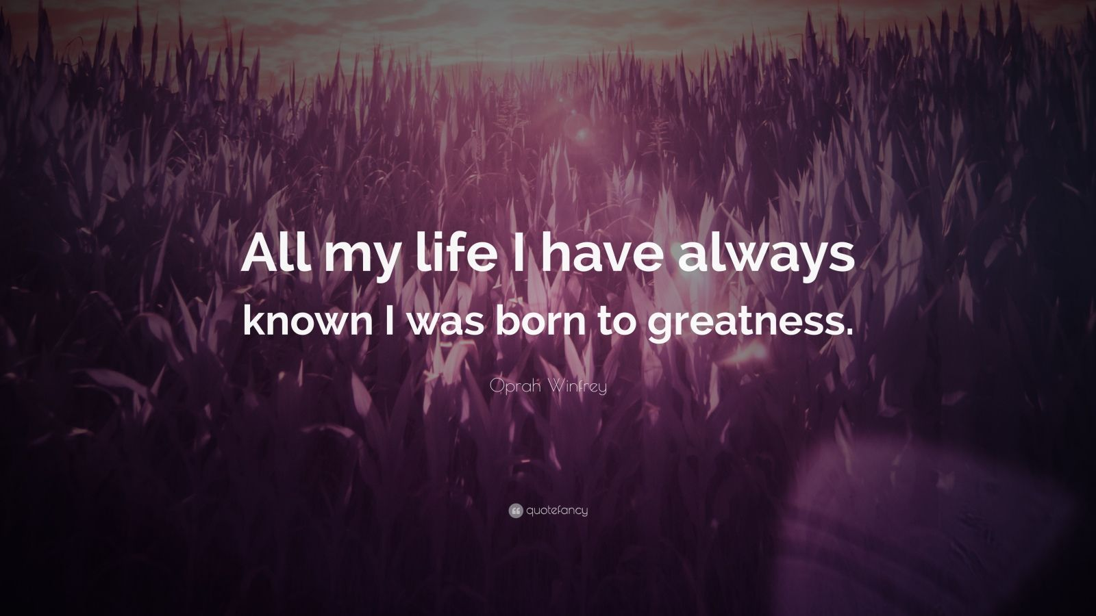 """Oprah Winfrey Quote: """"All my life I have always known I was born to greatness."""""""