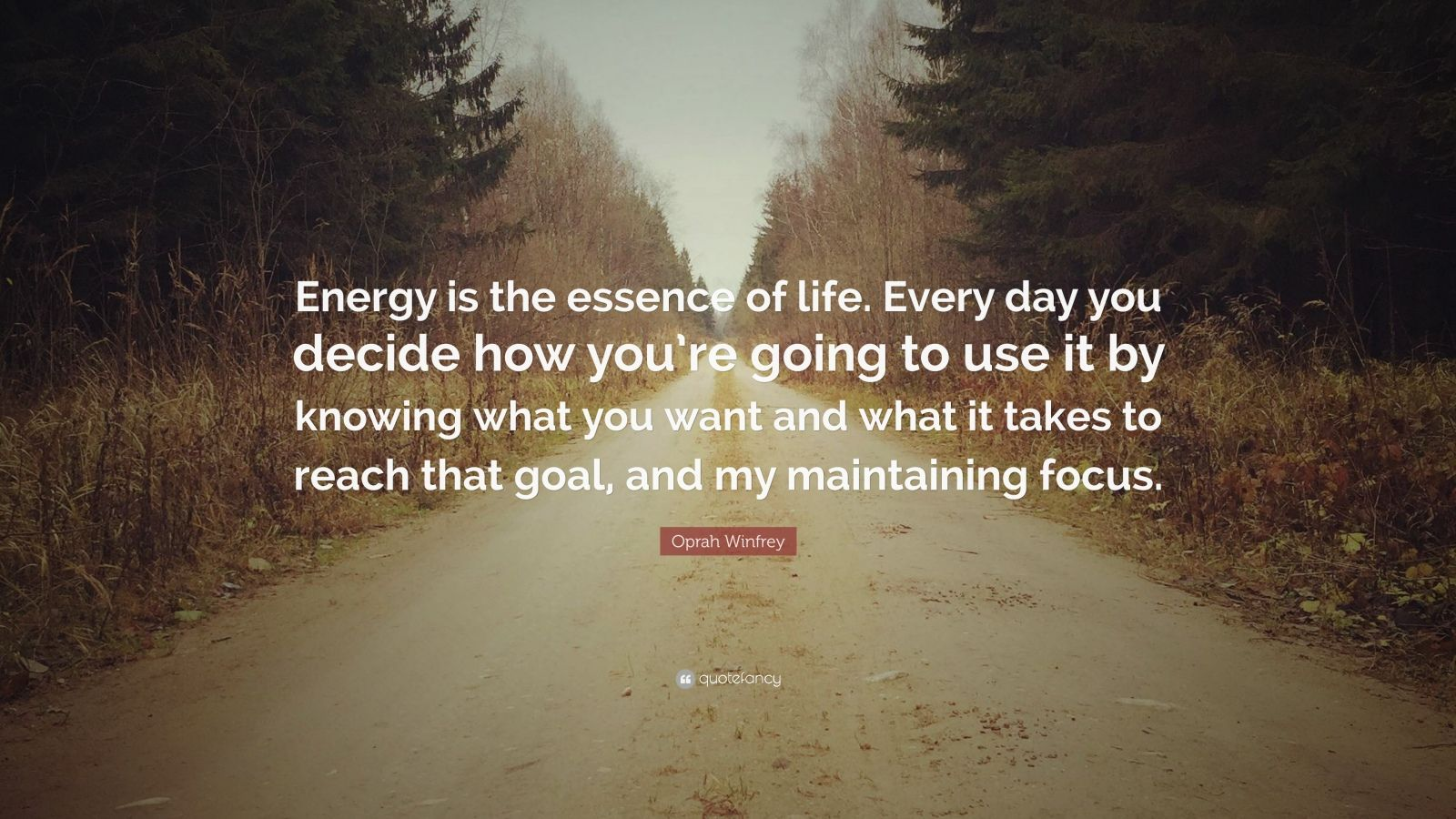 """Oprah Winfrey Quote: """"Energy is the essence of life. Every day you decide how you're going to use it by knowing what you want and what it takes to reach that goal, and my maintaining focus."""""""