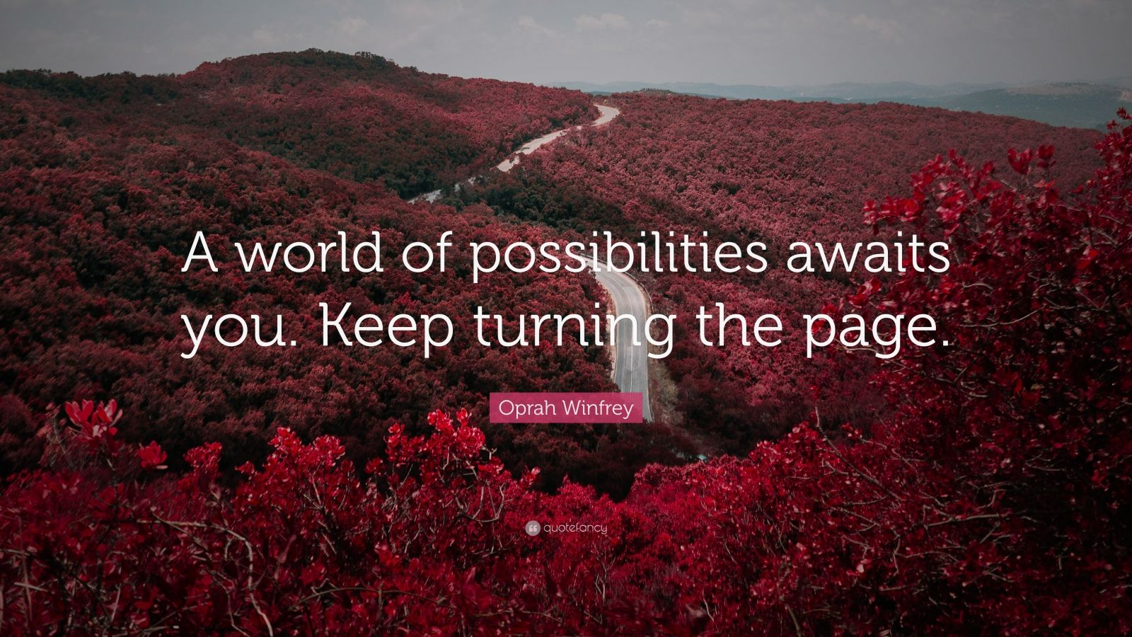 "Oprah Winfrey Quote: ""A world of possibilities awaits you. Keep turning the page."""