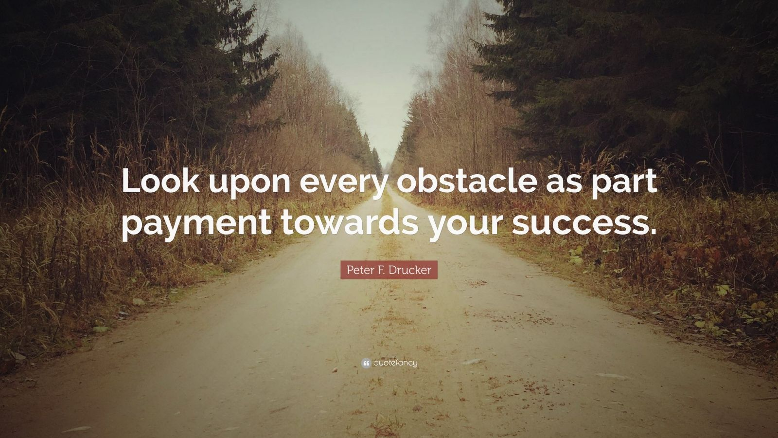 """Peter F. Drucker Quote: """"Look upon every obstacle as part payment towards your success."""""""