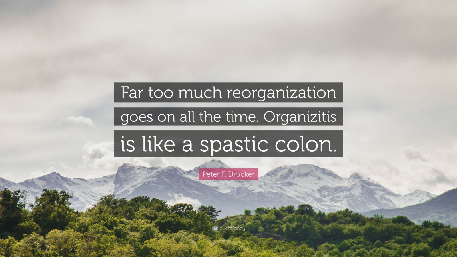 """Peter F. Drucker Quote: """"Far too much reorganization goes on all the time. Organizitis is like a spastic colon."""""""