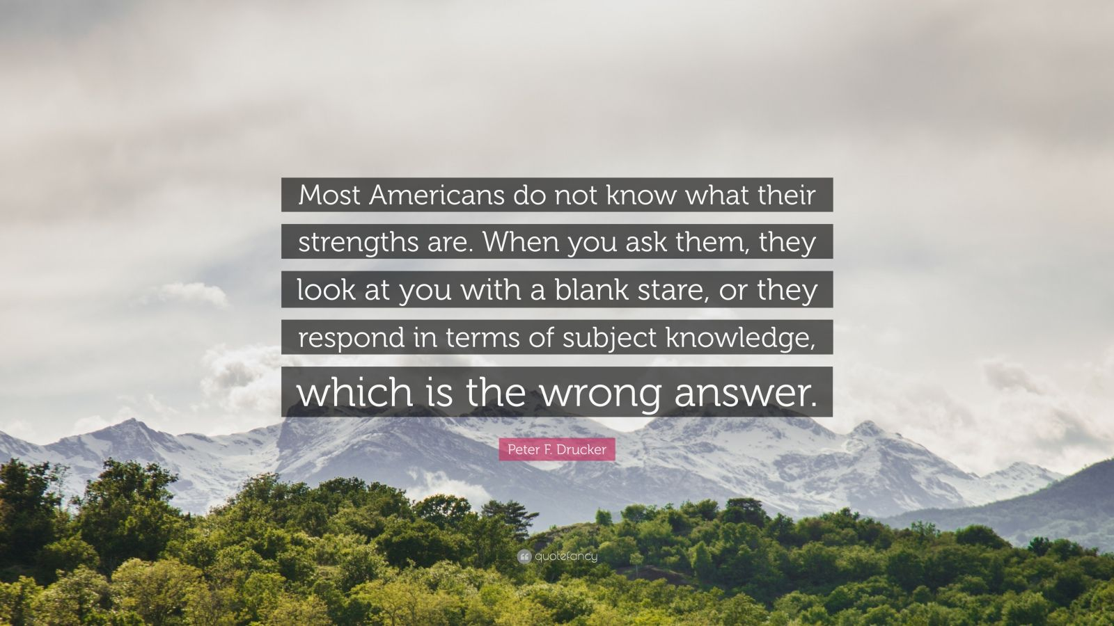 """Peter F. Drucker Quote: """"Most Americans do not know what their strengths are. When you ask them, they look at you with a blank stare, or they respond in terms of subject knowledge, which is the wrong answer."""""""