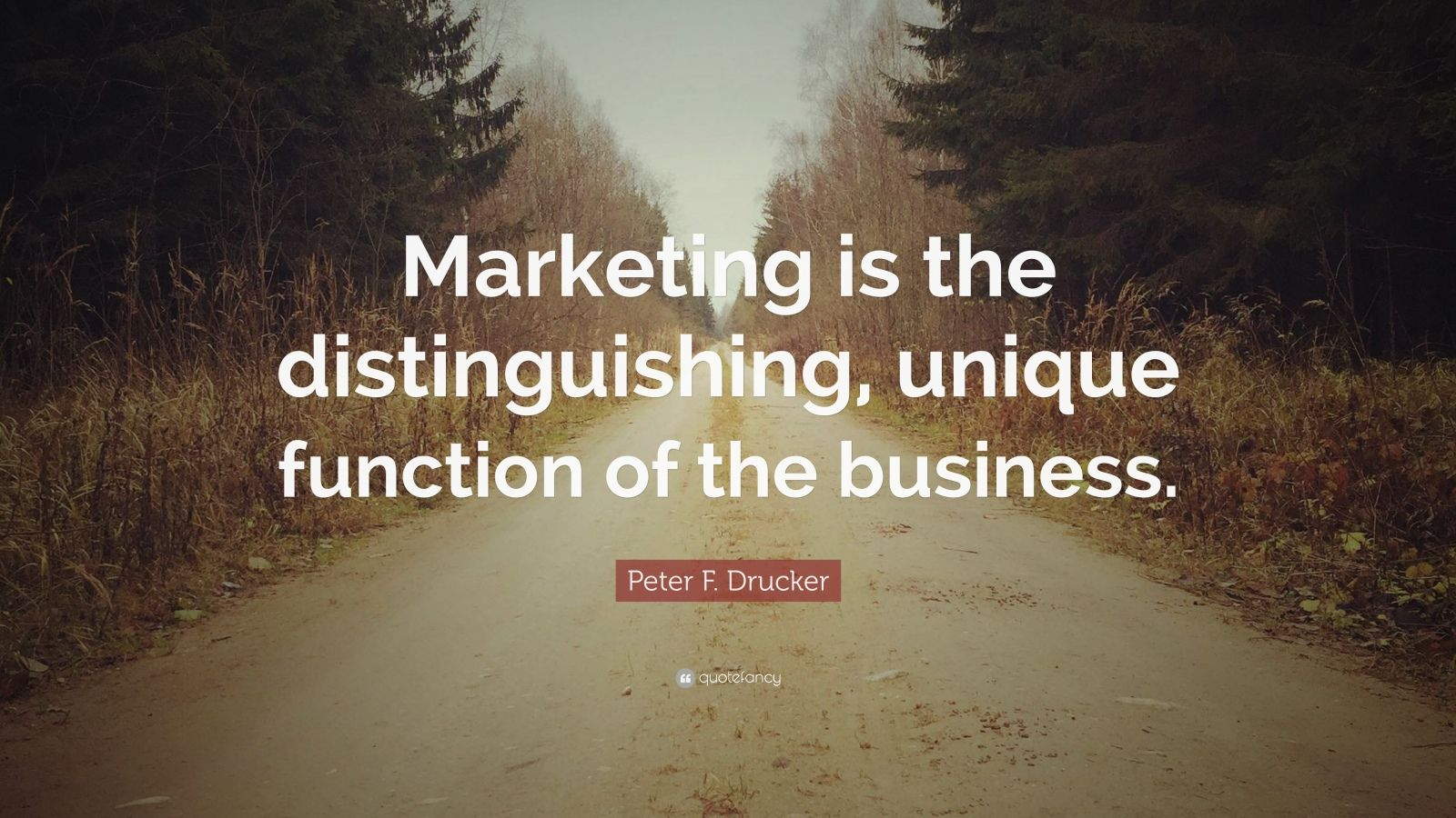 """Peter F. Drucker Quote: """"Marketing is the distinguishing, unique function of the business."""""""