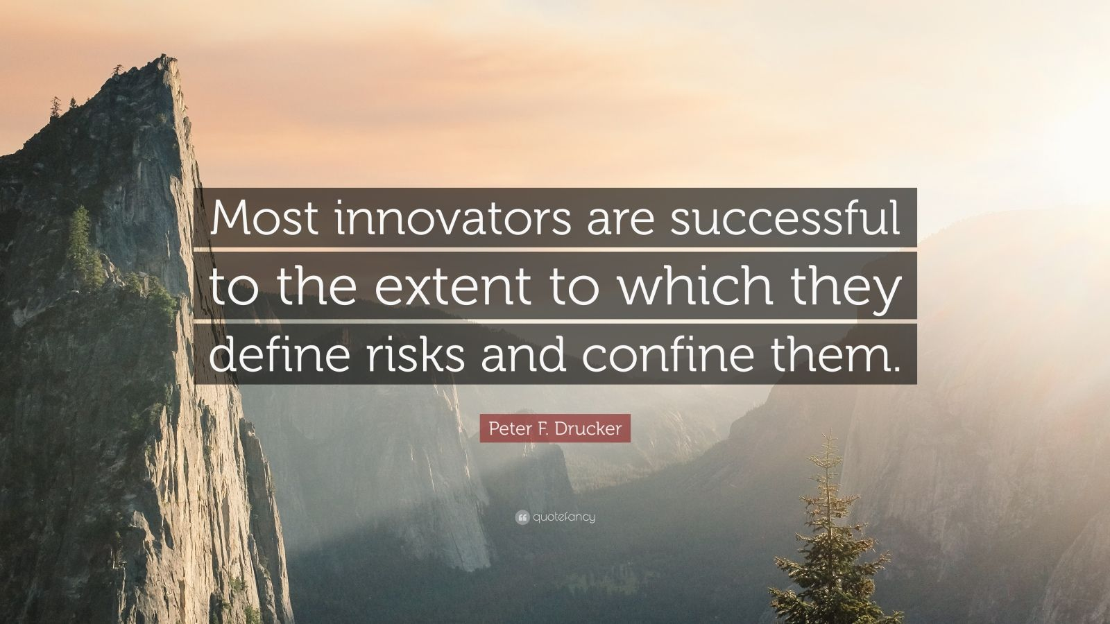 """Peter F. Drucker Quote: """"Most innovators are successful to the extent to which they define risks and confine them."""""""