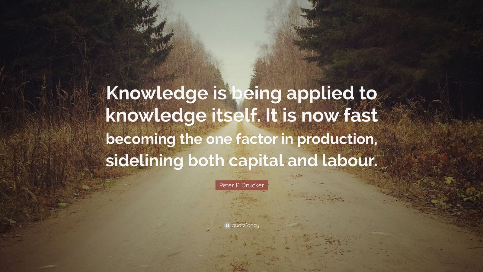 "Peter F. Drucker Quote: ""Knowledge is being applied to knowledge itself. It is now fast becoming the one factor in production, sidelining both capital and labour."""